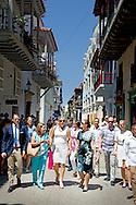 21-10-2015 CARTAGENA COLOMBIA  Prince Daniel and Princess Victoria walk in the historic centre of Cartagena during a tour  . Prince Daniel and Princess victoria during a 2 day visit to peru and 3 days visit to Colombia . COPYRIGHT ROBIN UTRECHT