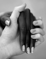 Akeer & Kate, Hands, anti racism image, anti racism photography, black and white, friends, multiculturalism,fashion week sydney photos,