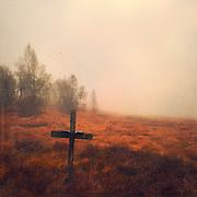 Kreuz der Verlobten (Croix des Fiances) - Hohes Venn, Belgien, Barraque Michel im Herbst. Texturierte Fotografie.