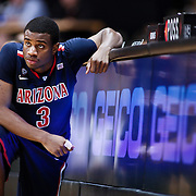 SHOT 1/21/12 6:38:17 PM - Arizona's Kevin Parrom #3 waits to check in against Colorado during their PAC 12 regular season men's basketball game at the Coors Events Center in Boulder, Co. Colorado won the game 64-63..(Photo by Marc Piscotty / © 2012)
