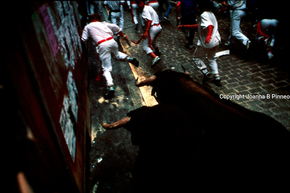 Pamplona, Spain. Running of the Bulls. Early each morning half a dozen bulls gallop to the stadium, where they will fight and die. Daredevils run before them each morning of the week-long festival of San Fermin, carrying rolled newspapers to swat the bulls.