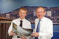 27.07.2011. Visit Scotland chairman Mike Cantlay (right) and Philip Long, Director of V&A at Dundee look over plans during a visit today.