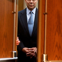 General Colin Powell (Ret.) waits to be introduced to the room at Wright State University in Dayton, Ohio September 7, 2000. Powell appeared with Texas Governor and Republican presidential candidate George W. Bush and spoke about the decline of the U.S. military under the Clinton administration. REUTERS/Rick Wilking