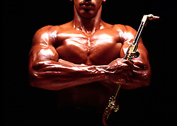 graphic design african american body builder, muscular, holding welder blowtorch. 1 one  copy space Achievement Adaptability Americana Concentration(MODEL RELEASE AVAILABLE)