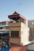 Pitch roofed Tube House seen from Long Bien Bridge, Hanoi, Vietnam