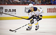 SHOT 3/28/15 9:17:28 PM - The Buffalo Sabres' Brian Gionta #12 plays against the Colorado Avalanche in their regular season NHL game at the Pepsi Center in Denver, Co. The Avalanche won the game 5-3. (Photo by Marc Piscotty / © 2015)