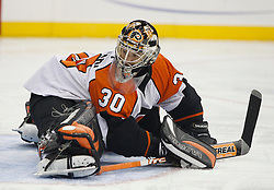 November 8, 2007; Newark, NJ, USA;  Philadelphia Flyers goalie Antero Niittymaki (30) stretches after replacing Philadelphia Flyers goalie Martin Biron (43) during the second period at the Prudential Center in Newark, NJ.
