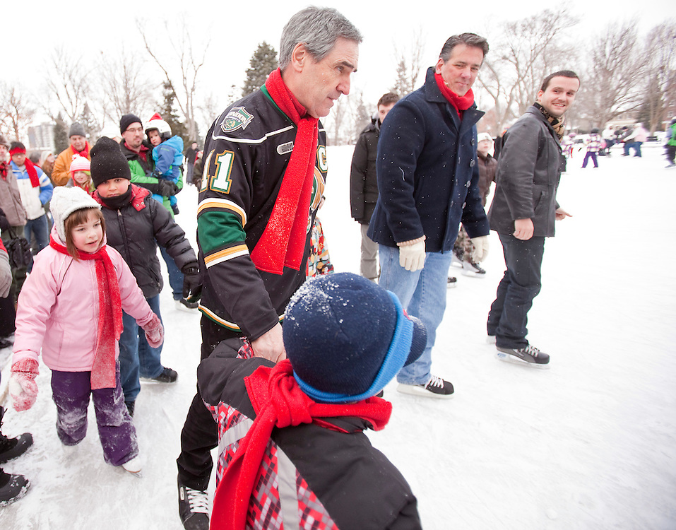 Liberal Leader Michael Ignatieff skates with local liberals in London, Ontario January 16, 2011, during a stop on his cross Canada tour.<br /> REUTERS/Geoff Robins (CANADA)