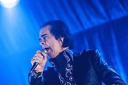 Nick Cave, frontman of Nick Cave and the Bad Seeds, on stage tonight at The Barrowlands, Glasgow, Scotland.<br /> &copy;Michael Schofield.