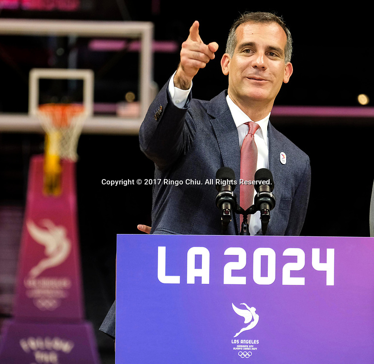 Los Angeles Mayor Eric Garcetti, speaks in a news conference at Staples Center, Friday, May 12, 2017, in Los Angeles, the United States. A team of International Olympic Committee delegates wrap up their a three-day tour of Los Angeles as the city attempts to demonstrate its readiness to stage the 2024 Olympics.<br />   (Xinhua/Zhao Hanrong)(Photo by Ringo Chiu/PHOTOFORMULA.com)<br /> <br /> Usage Notes: This content is intended for editorial use only. For other uses, additional clearances may be required.