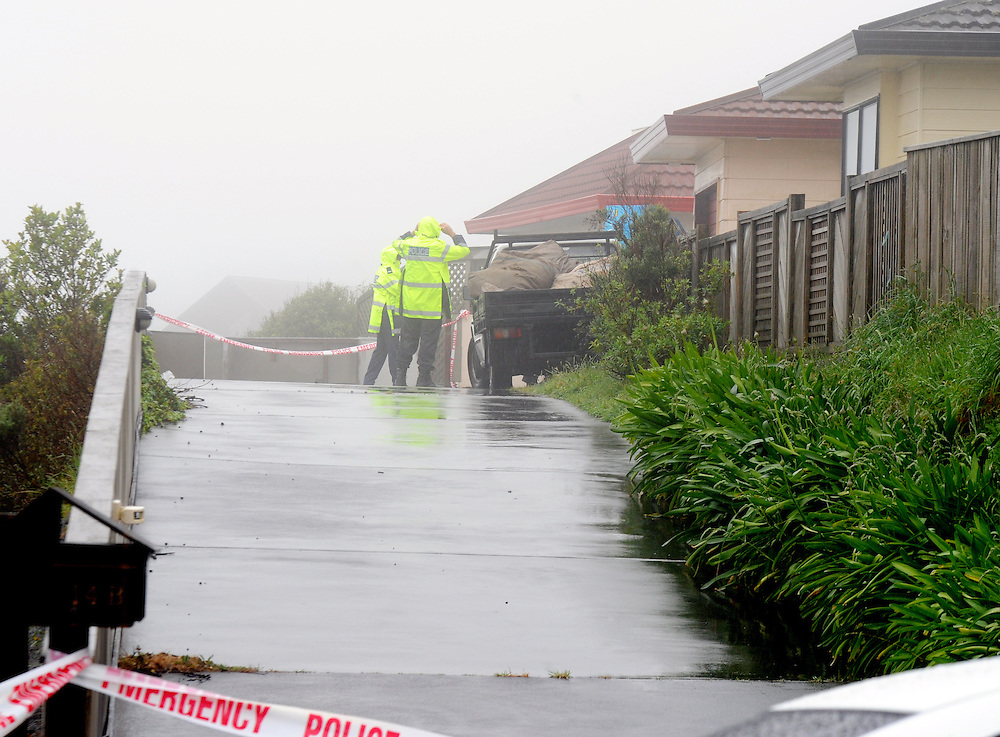 Police investigate the scene of the homicide of a 38 year old woman at a rear section home in Newlands, Wellington, New Zealand, Tuesday, November 26, 2013. A injured male is in hospital under police guard. Credit:SNPA / Ross Setford