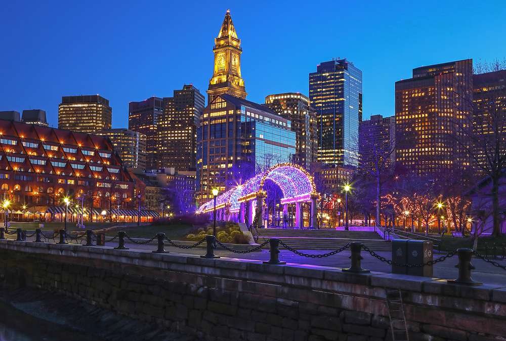 Boston North End Christopher Columbus Waterfront Park night photography from New England Photography Guild member and award winning fine art photographer Juergen Roth showing Boston Custom House of Boston, the waterfront and parts of the Columbus Park and Boston Marriott Long Wharf hotel. The Boston skyline was photographed on a beautiful spring sunset. <br /> <br /> Skyline photos of Boston are available as museum quality photo prints, canvas prints, wood prints, acrylic prints or metal prints. Fine art prints may be framed and matted to the individual liking and decorating needs:<br /> <br /> http://juergen-roth.pixels.com/featured/boston-north-end-christopher-columbus-waterfront-park-juergen-roth.html<br /> <br /> All digital Boston skyline photography images are available for photo image licensing at www.RothGalleries.com. Please contact me direct with any questions or request.<br /> <br /> Good light and happy photo making!<br /> <br /> My best,<br /> <br /> Juergen<br /> Prints: http://www.rothgalleries.com<br /> Photo Blog: http://whereintheworldisjuergen.blogspot.com<br /> Instagram: https://www.instagram.com/rothgalleries<br /> Twitter: https://twitter.com/naturefineart<br /> Facebook: https://www.facebook.com/naturefineart