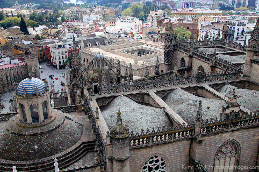 Europe, Spain, Seville. The Cathedral of Seville, Cathedral de Sevilla. View from the belltower, or La Gironda, a former minaret.