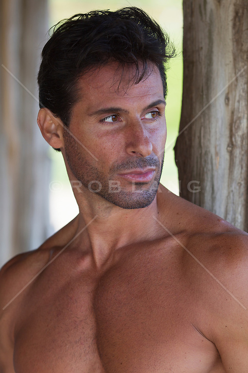 portrait of a handsome shirtless man