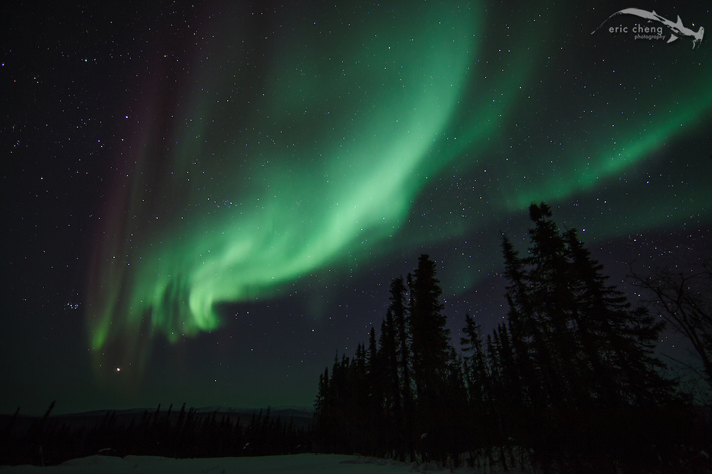 One of the brightest auroras of the evening of March 22-23, 2012. Exposure details: 15 sec at f/2.8, ISO 1000. Canon 5D Mark II, Canon EF 14mm f/2.8L II USM lens.