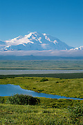 Denali National Park, AK, USA.<br /> Mt. McKinley and the Alaska Range.<br /> Ponds and rolling hills near Wonder Lake.<br /> Tundra, Boreal Forest and McKinley River Bar.<br /> &copy;2000 Brett Baunton