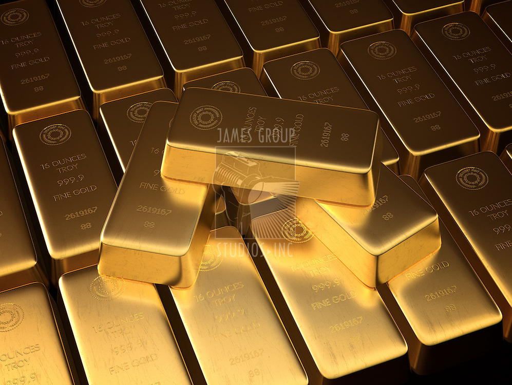 Stacked bars of gold bullion.