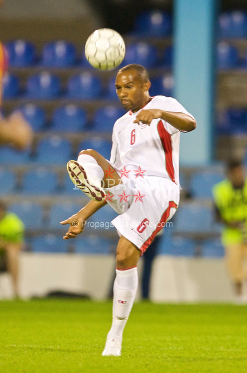 PODGORICA, MONTENEGRO - Wednesday, August 12, 2009: Wales' Daniel Gabbidon in action against Montenegro during an international friendly match at the Gradski Stadion. (Photo by David Rawcliffe/Propaganda)