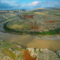 Aerial view of Euphrates river, south-central Turkey