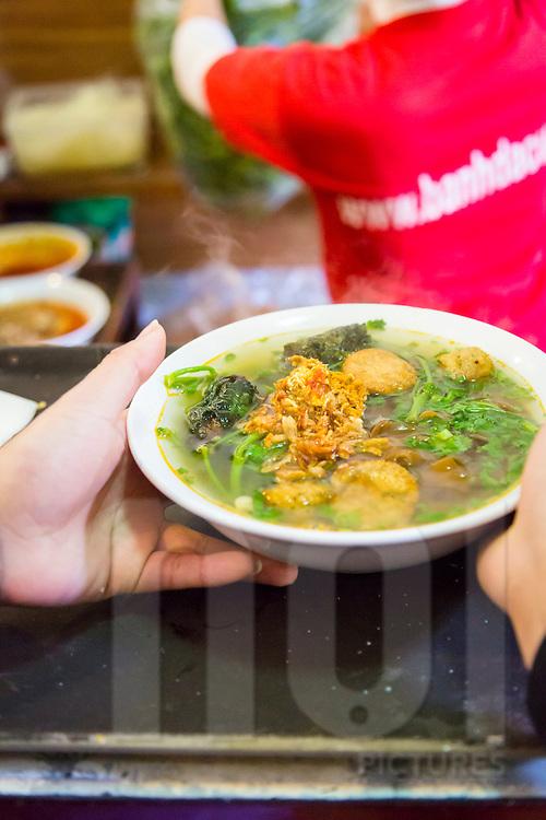 A bowl of 'banh da cua' served in An Bien Restaurant, 168A Trieu Viet Vuong, Hai Ba Trung, Hanoi, Vietnam, Southeast Asia