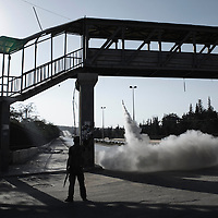SYRIA, ALEPPO. An home-made rocket is fired by the Free Syrian Army fighters in Aleppo on September 26, 2012. ALESSIO ROMENZI