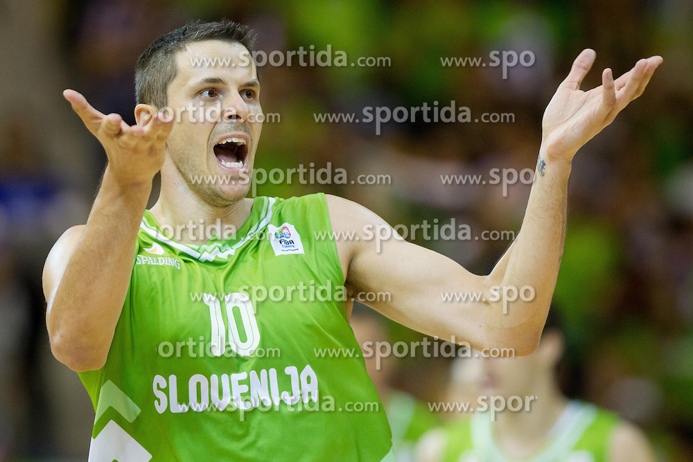 Bostjan Nachbar of Slovenia reacts during basketball match between National teams of Georgia and Slovenia in Round 1 at Day 4 of Eurobasket 2013 on September 7, 2013 in Arena Zlatorog, Celje, Slovenia. (Photo by Vid Ponikvar / Sportida.com)