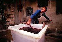 wine worker, near Bordeaux, France - filling vats