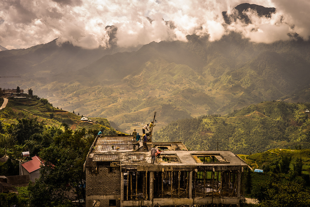 Construction of a new hotel in Sapa, Vietnam