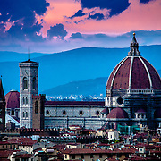 Sunset over the Duomo, a view from the Piazzele Michelangelo, Florence, Italy
