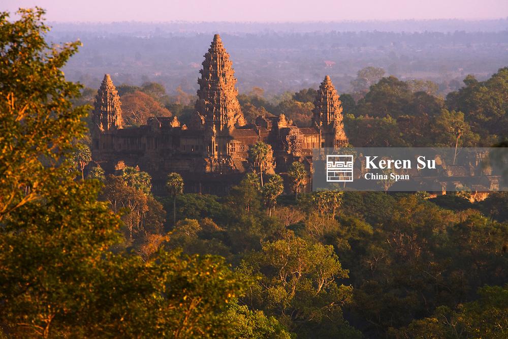 Aerial view of the towers of Angkor Wat at sunset, Angkor, Cambodia