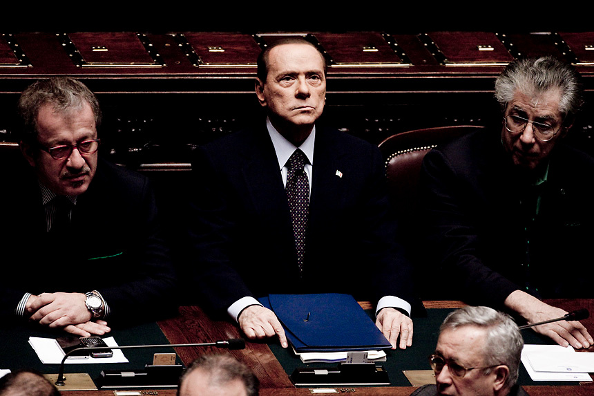 Italy's Prime Minister Silvio Berlusconi attends a vote on Italy's public accounts at the parliament on November 8, 2011 in Rome. Prime Minister Silvio Berlusconi's main coalition partner, Umberto Bossi, called for his resignation the same day ahead of a knife-edge vote as Italy came under acute pressure from record borrowing rates to finance debt