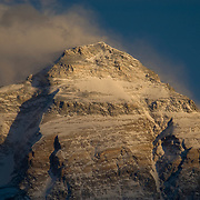 The summit of Everest at sunset as viewed from Rongbuk Basecamp, Tibet, China.