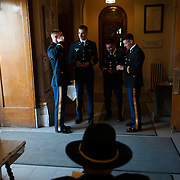 ROTC students prepare for the ROTC Commissioning Ceremony in St. Aloysius Church on Friday, May 11, 2012.