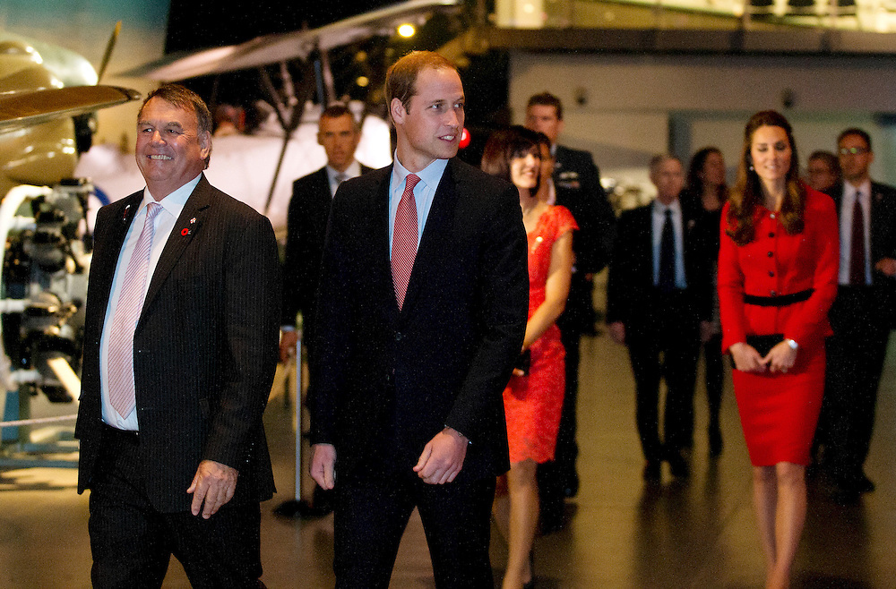 Britain's Prince Williamwith Peter Townsend CEO of Canterbury Chamber of Commerce at the Wigram Airbase Museum, Christchurch, New Zealand, Monday, April 14, 2014. Credit:SNPA / Fairfax, Iain McGregor  POOL