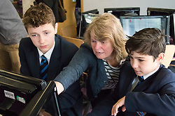 Camden City Learning Centre, London, June 15th 2015. London Mayor Boris Johnson joins future entrepreneurs at Camden City Learning Centre to launch London Technology Week and to launch a dedicated online hub for the Capital's thriving technology industry. PICTURED: Students learn to programme robots to detect colour patches in a simulation of the sort of activities the Mars Rover would be expected to do.