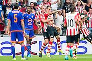 EINDHOVEN - PSV - Feyenoord , Voetbal , Seizoen 2015/2016 , Eredivisie , Philips Stadion , 30-08-2015 , PSV speler Luuk de Jong (3e l) tilt doelpunten maker PSV speler Santiago Arias (4e l) op hij scoort de 2-1