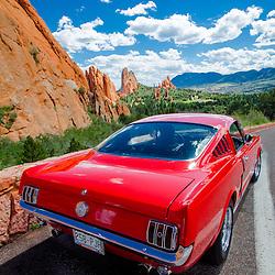 Cherry red 1966 Ford Mustang, Garden of the Gods, Colorado Springs, Colorado