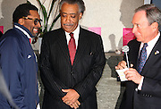 l to r: Spike Lee, Rev. Al Sharpton, and Michael Bloomberg at Rev. Al Sharpton's 55th Birthday Celebration and his Salute to Women on Distinction held at The Penthouse of the Soho Grand on October 6, 2009 in New York City