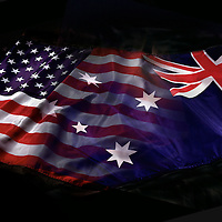 American and Australian flags blended.<br />