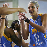 Chicago Sky Forward Elena Delle Donne (11) celebrates with her teammates in the second period of a WNBA preseason basketball game between the Chicago Sky and the New York Liberty Friday, May. 22, 2015 at The Bob Carpenter Sports Convocation Center in Newark, DEL