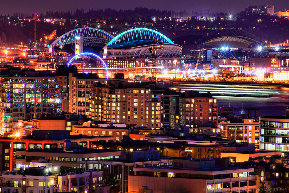 Belltown & Seattle Stadiums @ Night