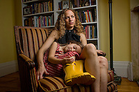 Author and academic Katie Roiphe poses for a portrait with her daughter Violet, 4, in their Brooklyn, NY home, May 21, 2008. Photographer: Robert Caplin/Rapport Press