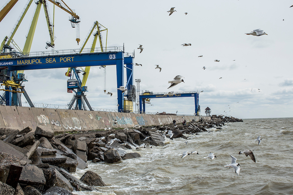 A view of the city's port on Sunday, March 20, 2016 in Mariupol, Ukraine.