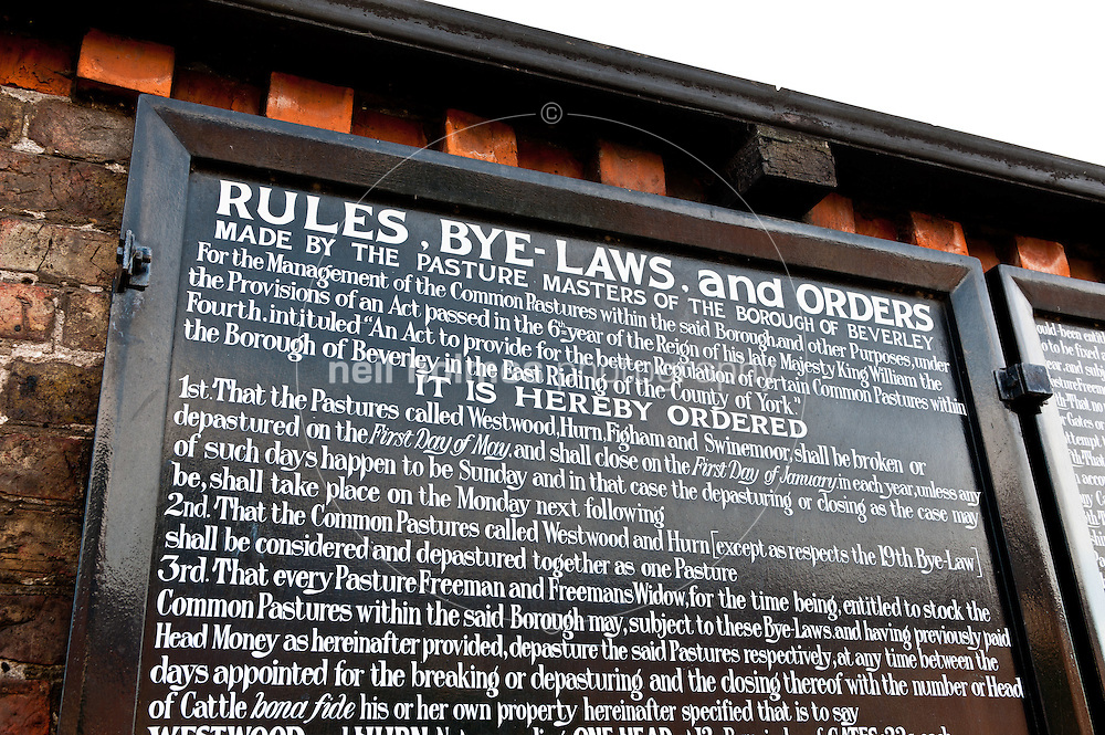 The tables of rules and by-laws at the York Road entrance to Beverley Westwood.
