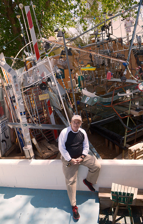 gbs041017p/LIFE -- Jeff Hatzer at his eclectic bunnytown structure in the backyard of his home on Monday, April 10, 2017. (Greg Sorber/Albuquerque Journal)