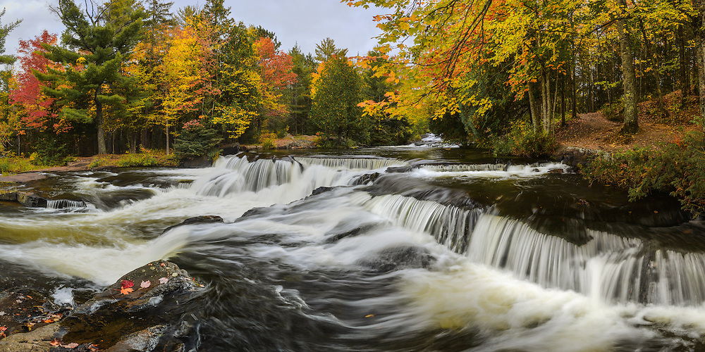 An autumn afternoon at the upper section of Bond Falls.<br />