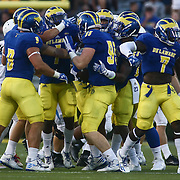 Delaware players celebrates a fumble recovery during a week one game between the Delaware Blue Hens and the Delaware State Hornets, Thursday, Sept. 01, 2016 at Tubby Raymond Field at Delaware Stadium in Newark, DE.