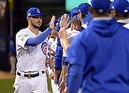 CHICAGO, IL - OCTOBER 15:  Kris Bryant #17 of the Chicago Cubs greet teammates during player introductions prior to Game 1 of NLCS against the Chicago Cubs at Wrigley Field on Saturday, October 15, 2016 in Chicago, Illinois. (Photo by Ron Vesely/MLB Photos via Getty Images) *** Local Caption *** Kris Bryant