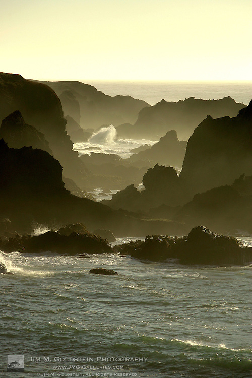 A wave crashes on the rocks at Jug Handle State Natural Reserve, California