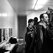 The Salem Stampede use the cramped locker room at the Salem Armory. Photographed Friday, April 14, 2006. (Thomas Patterson / Statesman Journal)